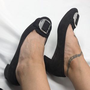 PRADA Brown Suede Block Heels